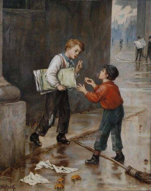 Deux petits vendeurs de journaux en 1874