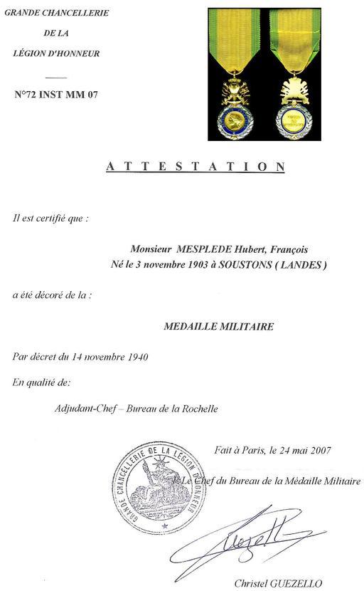 Diplôme de la Médaille militaire