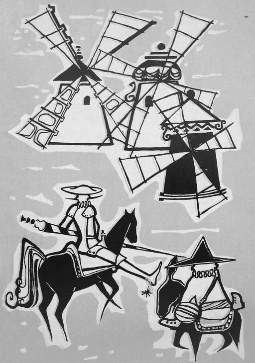 Don Quichotte et les moulins à vent