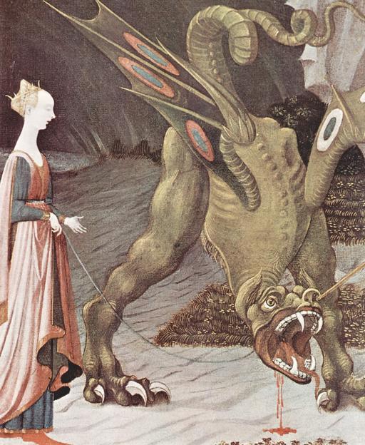 Dragon blessé tenu en laisse