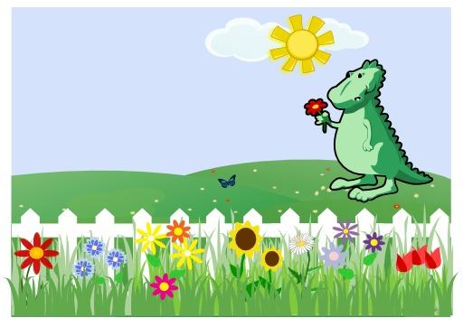 Dragon dans un jardin de fleurs