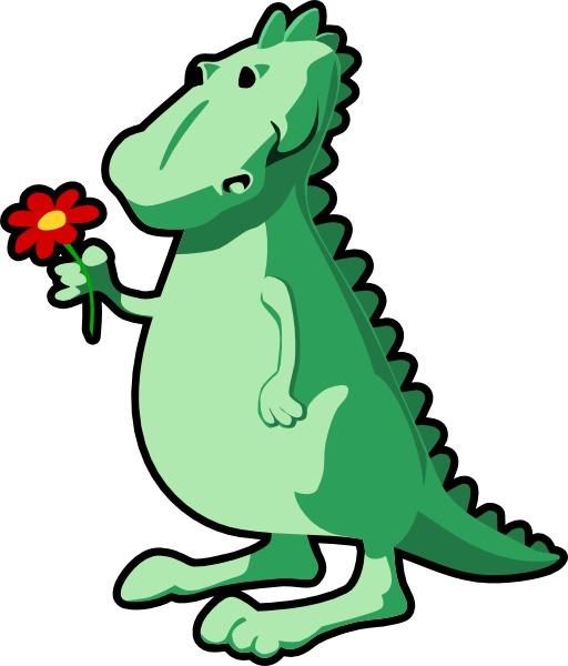 Dragon vert offrant une fleur rouge