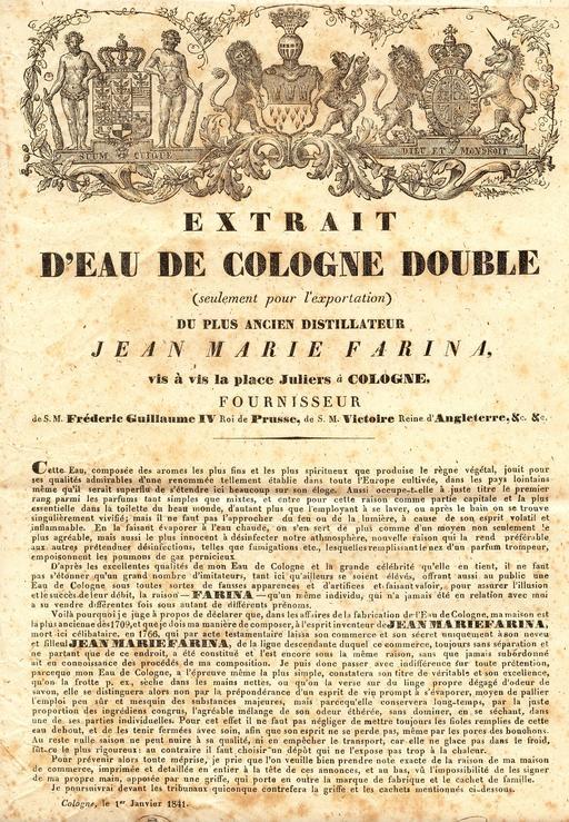 Eau de Cologne en 1841