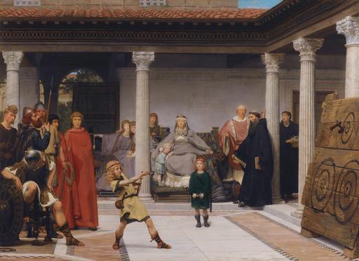 Tableau de Lawrence Alma-Tadema en 1861 : La reine Clotilde, femme de Clovis, entraîne ses trois enfants à l'art de lancer la hache, pour venger la mort de leur père.