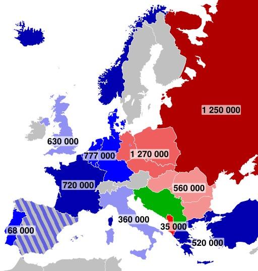 Effectifs militaires en Europe en 1959