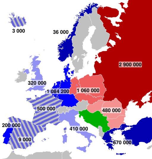 Effectifs militaires en Europe en 1973