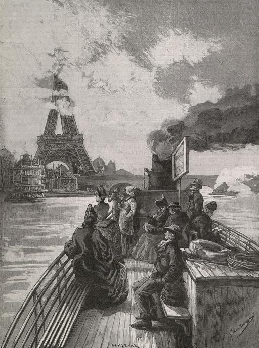 En bateau-mouche aux abords du pont d'Iéna en 1889