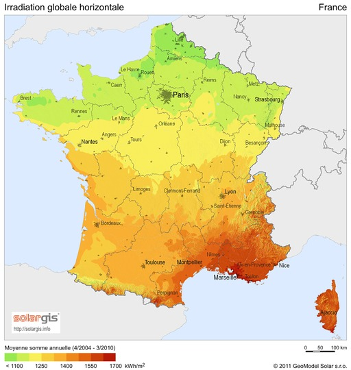 Ensoleillement en France