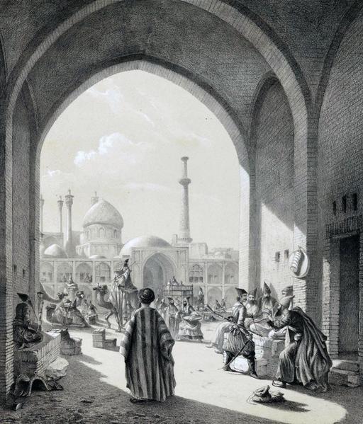 Entrée d'un caravanserail à Ispahan en 1840