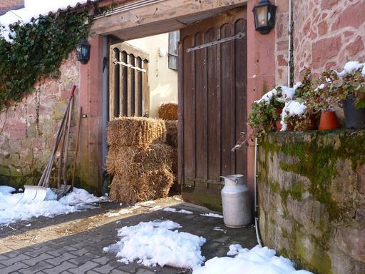Entrée de ferme en hiver