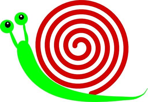 Escargot vert à coquille rouge