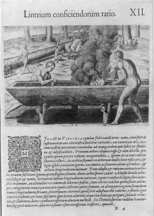 Fabrication des canoés indiens en 1590