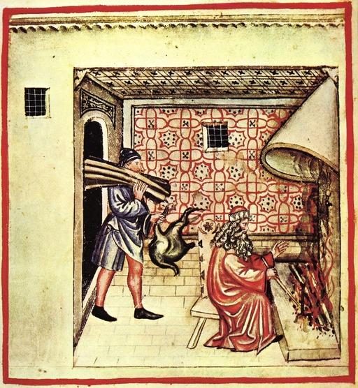 Faire du feu dans la cheminée en hiver au Moyen Age