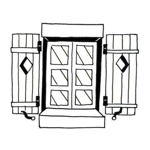 Fenêtre à volets en bois