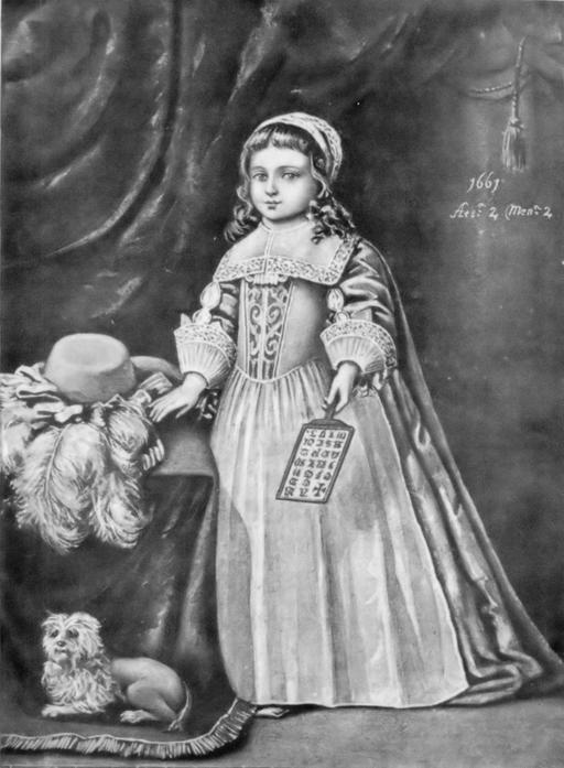 Fillette et son abécédaire sur tablette en 1661