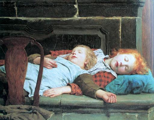 Fillettes faisant la sieste