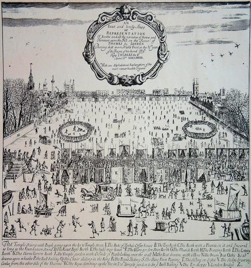 Foire sur la Tamise gelée à Londres en 1683