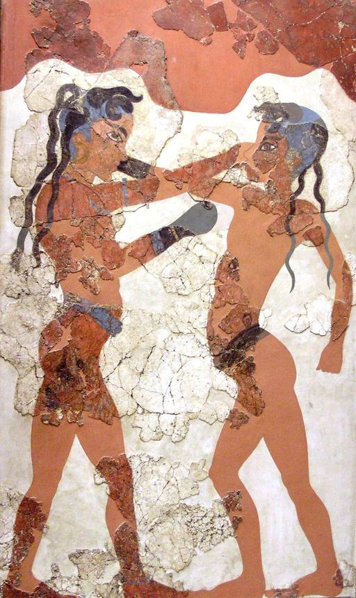 Fresque antique des enfants boxeurs