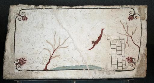 Fresque antique du plongeur à Paestum