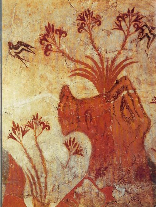 Fresque de lys de Santorin en Grèce