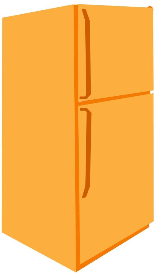 Frigidaire jaune avec congélateur