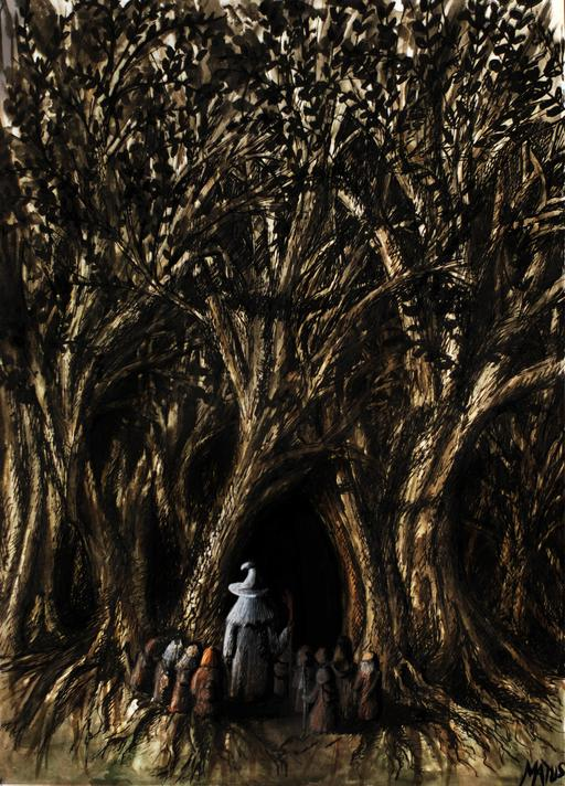 Gandalf et les nains à l'entrée de la Forêt Noire