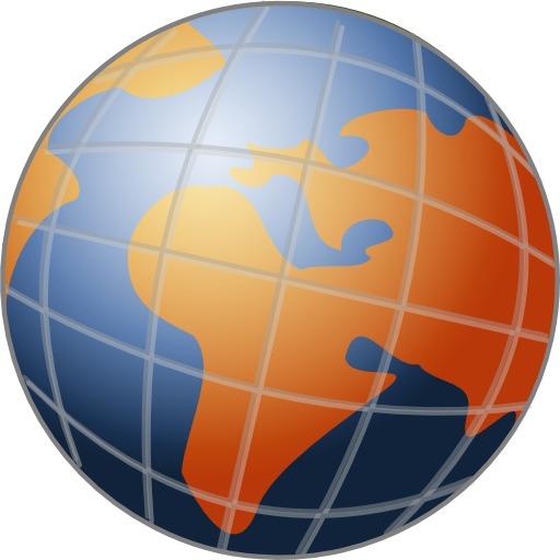 Globe terrestre bleu et orange