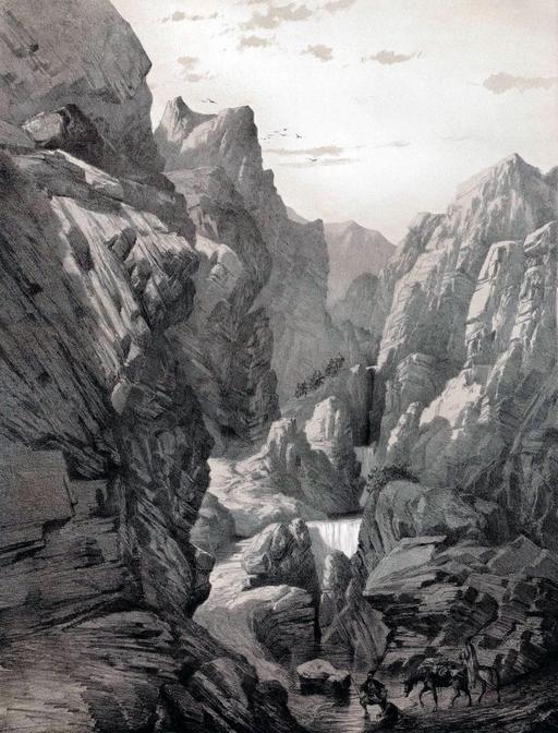 Gorge dans les montagnes de Fars en Iran en 1840