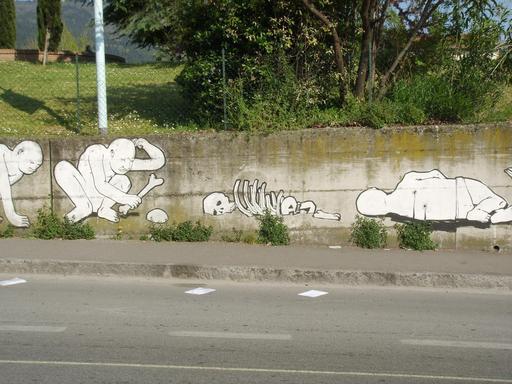 Graffiti des étapes de l'évolution de 26 à 28