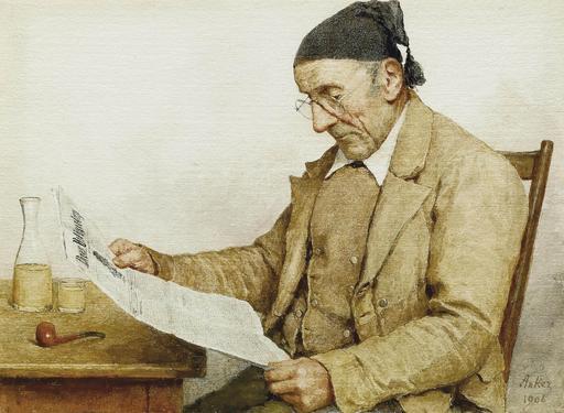 Grand-père lisant le journal