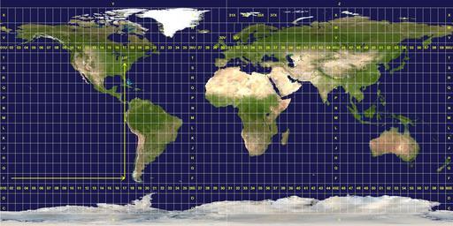 Grille du zonage UTM de Mercator