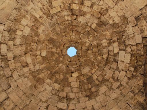 Gros-plan sur la coupole des Thermes de l'Ouest à Jerash
