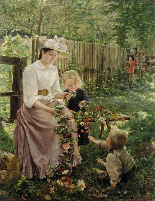 Guirlande de fleurs tressées