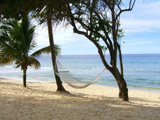 Hamac vide sur une plage tropicale déserte