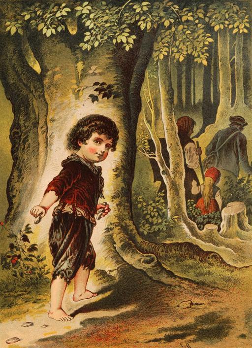 Hansel sème des cailloux dans la forêt