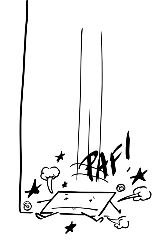 Hervé le carré s'écrase au sol et s'aplatit