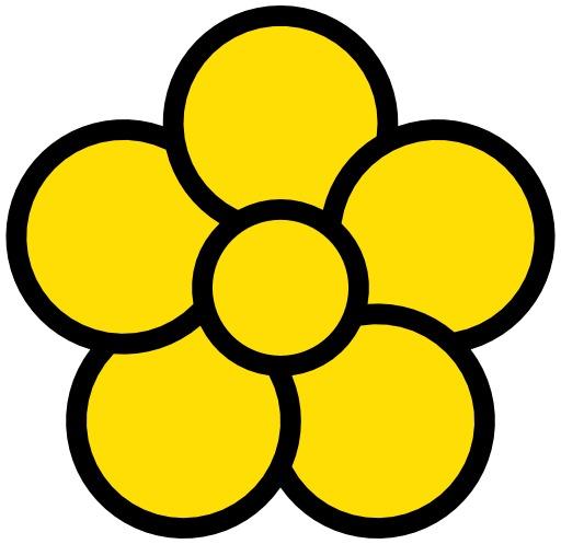 Icone de fleur jaune à cinq pétales