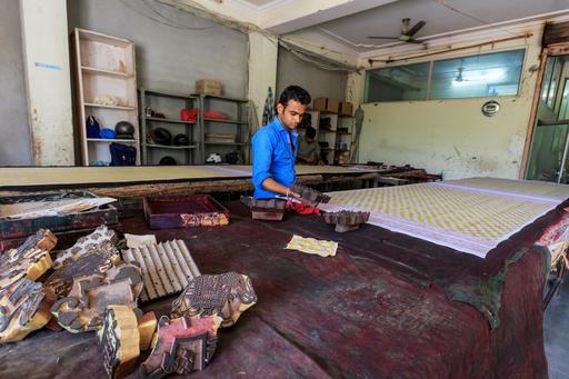 Imprimerie de textile à Jaipur
