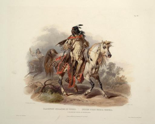 Indien pied noir à cheval