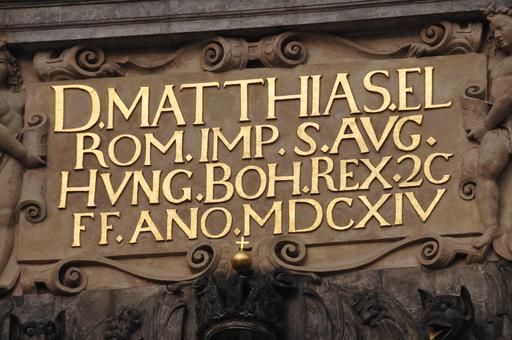 Inscription au château de Prague en 1614
