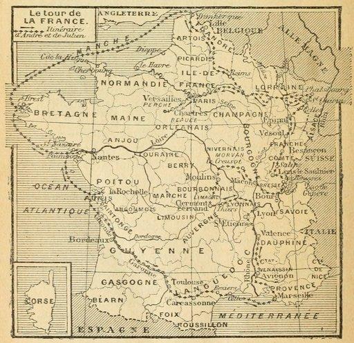Itinéraire d'André et de Julien en 1877