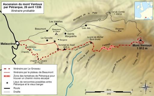Itinéraire de l'ascencion du Mont Ventoux par Pétrarque
