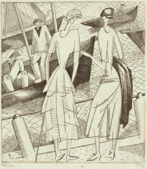 Jeunes filles sur le port en 1920