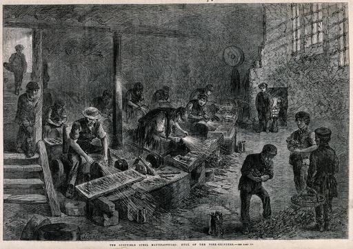 Jeunes gens dans une usine en 1866