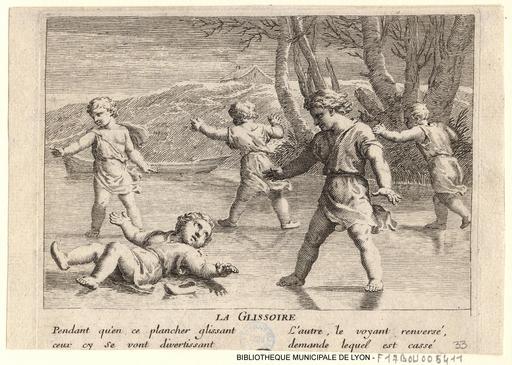 Jeux d'enfants sur un étang gelé en 1675