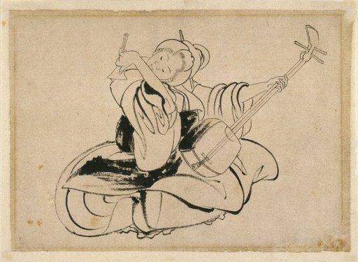 Joueuse de Shamisen assise, de Katsushika Hokusai