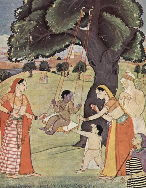 Krishna enfant sur une balançoire