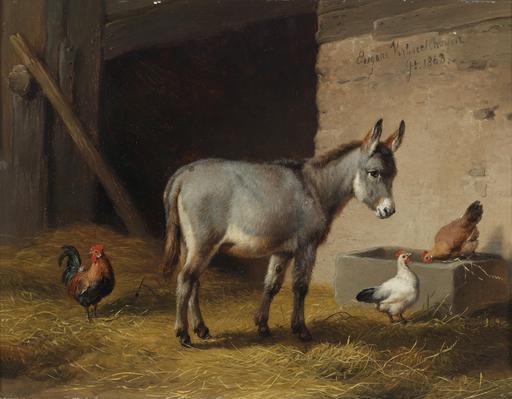 L'âne et les poules dans l'étable