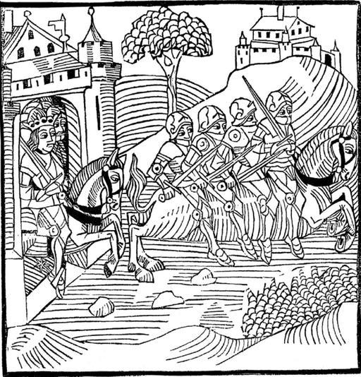 La Fuite des 4 fils Aymon sur le cheval Bayard