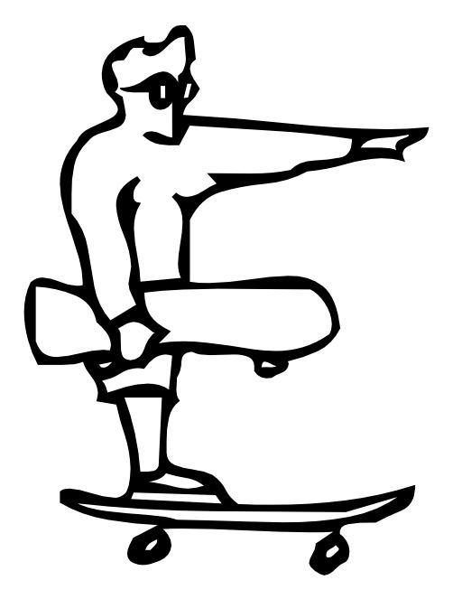 La lettre E du skateur